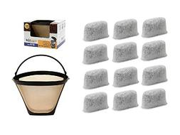 GoldTone Brand 8-12 Cup Coffee Filter & Set of 12 Charcoal W