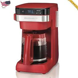 Coffee Maker Hamilton Beach 12-Cup Programmable Red Cafetera