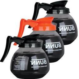 BUNN Coffee Pot Decanter/Carafe, 2 Black Regular and 1 Orang