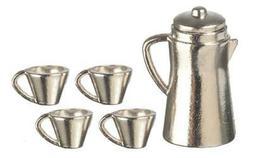 Dolls House Chrome Coffee Pot & Mugs Miniature Kitchen Cafe