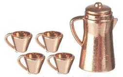 Dolls House Copper Coffee Pot & Mugs Set Miniature Kitchen C