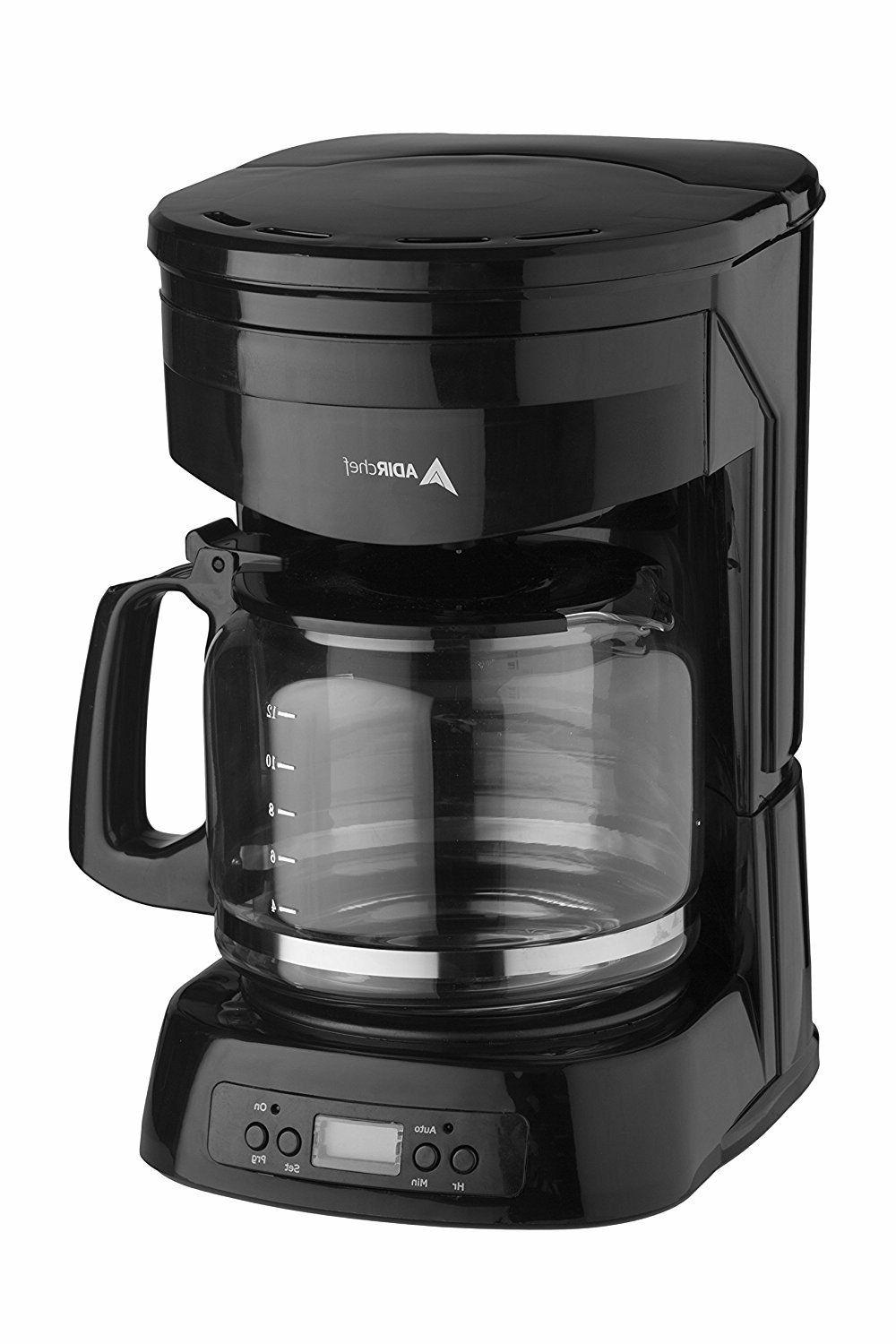 AdirChef 12 Cup Coffee Maker Glass Carafe Easy Fill Easy Cle